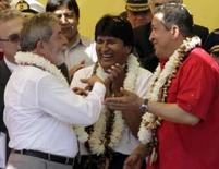<p>Lula e Chávez assinam acordos na Bolívia em apoio a Evo Morales. Os presidentes do Brasil e da Venezuela estão nesta sexta-feira no norte da Bolívia para renovar apoio ao presidente Evo Morales, com a formalização de créditos conjuntos para projetos viários no valor de 500 milhões de dólares. 18 de julho. Photo by David Mercado</p>