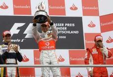 <p>Hamilton, da McLaren, vence o GP da Alemanha. Em segundo lugar, ficou o brasileiro Nelsinho Piquet e em terceiro, Felipe Massa, da  Ferrari. Photo by Alex Grimm</p>
