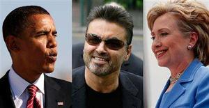 <p>A combination image showing Democratic presidential candidate Senator Barack Obama (L), singer George Michael and Senator Hillary Clinton. REUTERS/Ali Jarekji (L)/James Boardman (C)/Jim Young (R)</p>