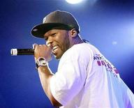 <p>50 Cent performs during the 2008 Sundance Film Festival in Park City, Utah January 19, 2008. REUTERS/Mario Anzuoni</p>