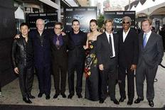 <p>Actors (L-R) Chin Han, Michael Caine, Gary Oldman, Christian Bale, Maggie Gyllenhaal, Aaron Eckhart, Morgan Freeman, and director Christopher Nolan pose for photographers for the premiere of the film The Dark Knight in New York, July 14, 2008. REUTERS/Keith Bedford</p>