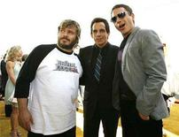 <p>(L-R) Actors Jack Black, Ben Stiller and Robert Downey Jr. pose at the 2008 MTV Movie Awards in Los Angeles June 1, 2008. REUTERS/Mario Anzuoni</p>