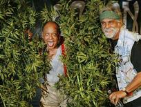 <p>Comedians Cheech Marin (L) and Tommy Chong pose with artificial marijuana plants after announcing their first comedy tour in 25 years during a news conference in Los Angeles, July 30, 2008. REUTERS/Fred Prouser</p>