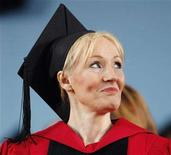<p>British author J.K. Rowling looks towards a speaker at the 357th Commencement Exercises at Harvard University in Cambridge, Massachusetts June 5, 2008, during which Rowling received an honorary Doctor of Letters degree. REUTERS/Brian Snyder</p>