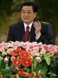 <p>O presidente da China, Hu Jintao, em coletiva de imprensa em Pequim. Photo by Reinhard Krause</p>