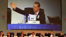 <p>Jacques Rogge, presidente do Comitê OIímpico Internacional, fala na abertura da 120a.sessão da entidade, realizada em hotel de Pequim. Photo by Gil Cohen Magen</p>
