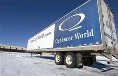 <p>A Quebecor World truck sits at the company's plant in LaSalle, Quebec January 21, 2008. REUTERS/Christinne Muschi</p>