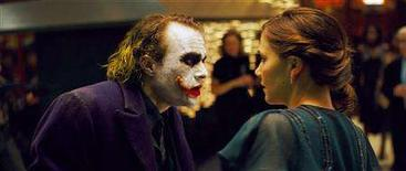 "<p>Actor Heath Ledger (L) stars as the Joker along with actress Maggie Gyllenhaal as Rachel Dawes in the movie ""The Dark Knight"" in this undated publicity handout photo. REUTERS/Warner Bros. Pictures.& DC Comics/Handout</p>"
