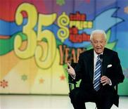 "<p>Host Bob Barker answers questions on stage at a news conference after the taping of his final episode of the game show ""The Price Is Right"" in Los Angeles June 6, 2007. REUTERS/Fred Prouser</p>"