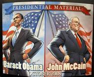 <p>The individual covers of U.S. presidential candidates John McCain and Barack Obama's biographies, which have been turned into a comic book, are displayed at the 39th annual Comic Con Convention in San Diego, California July 23, 2008. Presidential candidates John McCain and Barack Obama have unmasked their favorite pop culture icons, including superheroes, with McCain favoring Batman and Obama choosing Spider-Man and Batman. REUTERS/Mike Blake</p>