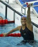 <p>A nadadora brasileia Joanna Maranhão comemora a vitória na prova dos 400m individual medley na série classificatória dos Jogos de Pequim. Photo by Jerry Lampen</p>