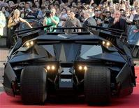 <p>The 'Batmobile' arrives for the European Premiere of The Dark Knight in Leicester Square in central London July 21, 2008. REUTERS/Toby Melville</p>