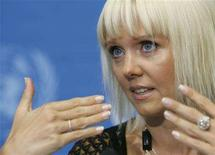 <p>Russian singer Valeriya gestures during a news conference at United Nations European headquarters in Geneva August 12, 2008. Singer Valeriya is being nominated on Tuesday as a goodwill envoy for the International Organization for Migration (IOM) in the Russian Federation, she will collaborate on the prevention of human trafficking. REUTERS/Denis Balibouse</p>