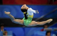 <p>Ethiene Franco em sua apresentação no solo na prova de ginástica artística, na qual o Brasil ficou em 8o lugar. Photo by Dylan Martinez</p>
