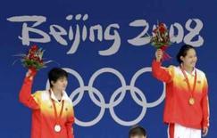 <p>Liu Zige, da China (dir) venceu a final dos 200 metros borboleta, com sua compatriota Jiao Liuyang em segundo. Photo by David Gray</p>