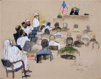 <p>A photo of a sketch by courtroom artist Janet Hamlin, reviewed by the U.S. Military, shows the Sept. 11 attacks co-conspirator suspects (L) during their court hearing inside a U.S. military war crimes court at Guantanamo Bay U.S. Naval Base in Cuba, June 5, 2008. REUTERS/Janet Hamlin/Pool</p>