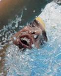<p>Australiano Grant Hackett nada nas eliminatórias dos 1.500m livre dos Jogos de Pequim, nesta sexta-feira. Photo by Jason Reed</p>