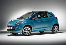 "<p>The Ford Ka in an undated image courtesy of Ford. The company said on Thursday its redesigned Ka city car would debut in the upcoming Bond film ""Quantum of Solace"". REUTERS/Handout</p>"