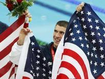 <p>Michael Phelps festeggia il suo ottavo oro. REUTERS/Jerry Lampen</p>