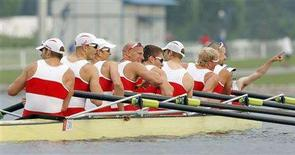 <p>(L-R) Kevin Light, Ben Rutledge, Andrew Byrnes, Jake Wetzel, Malcolm Howard, Dominic Seiterle, Adam Kreek, Kyle Hamilton and coxswain Brian Price of Canada celebrate after winning the men's eight rowing competition at the Beijing 2008 Olympic Games at Shunyi Rowing-Canoeing Park August 17, 2008. REUTERS/Tim Wimborne</p>
