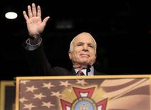 "<p>U.S. Republican presidential candidate Senator John McCain (R-AZ) waves to the veterans gathered at the 109th Veterans of Foreign Wars convention in Orlando, Florida, August 18, 2008. The McCain campaign fired off an angry letter to NBC News criticizing Andrea Mitchell's comments regarding the ""cone of silence"" at Saturday night's presidential candidates' forum at Saddleback Church in Lake Forest, California. REUTERS/Scott Audette</p>"