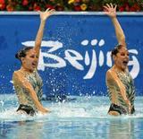 <p>Mariana Cifuentes e Blanca Isabel Delgado del Messico durante la gara di nuoto sincronizzato. I segni acquatici sarebbero i più favoriti negli sport acquatici REUTERS/Issei Kato</p>