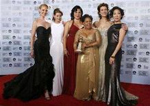 "<p>""Grey's Anatomy"" stars (L-R) Katherine Heigl, Ellen Pompeo, Sara Ramirez, Chandra Wilson, Kate Walsh and Sandra Oh pose backstage after winning the award for best television series - drama at the 64th annual Golden Globe Awards in Beverly Hills, California January 15, 2007. REUTERS/Mike Blake</p>"