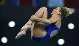 <p>Emilie Heymans of Canada competes in the women's 10m platform diving final at the Beijing 2008 Olympic Games August 21, 2008. REUTERS/Toby Melville</p>