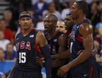 <p>Carmelo Anthony, Kobe Bryant, Jason Kidd, Lebron James e Dwight Howard durante partida dos EUA contra a Argentina na semifinal dos Jogos de Pequim, nesta sexta-feira. Os EUA venceram e vão enfrentar a Espanha na final. Photo by Lucy Nicholson</p>