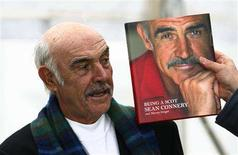 "<p>Sean Connery stands next to a copy of his new biography ""Being A Scot"" during a photocall for its launch at the Edinburgh International Book Festival in Edinburgh, Scotland, August 25, 2008. REUTERS/David Moir</p>"