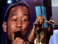 <p>Singer John Legend rehearses before the start of the 2008 Democratic National Convention in Denver, Colorado, August 25, 2008. U.S. Senator Barack Obama (D-IL) is expected to accept the Democratic presidential nomination at the convention on August 28. REUTERS/Mike Segar</p>