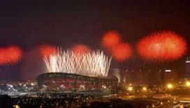 <p>Cena da cerimônia de encerramento das Olimpíadas de Pequim. O governo chinês leiloará objetos da vila olímpica e da cerimônia deabertura. Segundo a agência de notícias oficial chinesa, qualquer um pode participar do leilão. Photo by Joe Chan</p>