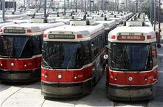 <p>Toronto Transit Committee (TTC) streetcars are lined up in a yard in Toronto May 29, 2006. REUTERS/Mike Cassese</p>
