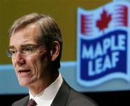 <p>Maple Leaf Foods President and CEO Michael McCain addresses shareholders at the company's annual general meeting in Toronto April 26, 2006. Canadian health officials said on Monday 12 people have died out of 26 confirmed cases of listeriosis, a food poisoning that genetic tests linked to prepared meats from a Toronto plant owned by Maple Leaf Foods Inc <MFI.TO>. REUTERS/J.P. Moczulski</p>