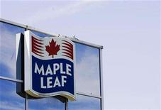 <p>A sign for the Maple Leaf food processing plant is seen in Toronto August 21, 2008. REUTERS/Mark Blinch</p>