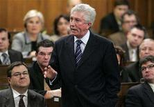 <p>Bloc Quebecois leader Gilles Duceppe stands to speak in the House of Commons on Parliament Hill in Ottawa January 28, 2008. REUTERS/Chris Wattie</p>