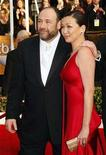 <p>James Gandolfini and his fiancee Deborah Lin arrive at the 14th annual Screen Actors Guild Awards in Los Angeles January 27, 2008. REUTERS/Mike Blake</p>