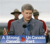 <p>Prime Minister Stephen Harper answers questions after delivering a speech announcing a new Polar class Arctic Icebreaker for the Canadian north to be named after former Prime Minister John G. Diefenbaker in Inuvik, Northwest Territories, August 28, 2008. REUTERS/Todd Korol</p>