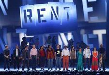 "<p>The original cast (front) of the musical ""Rent"" lines up on stage at the 62nd Annual Tony Awards in New York, June 15, 2008. REUTERS/Gary Hershorn</p>"