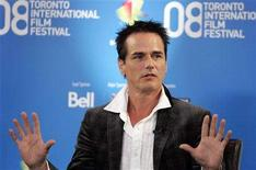 <p>Director Paul Gross gestures during the news conference for the film 'Passchendaele' at the 33rd Toronto International Film Festival, September 5, 2008. REUTERS/ Mike Cassese</p>