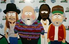 <p>A backdrop at the Comedy Central television network's South Park The Tenth Season party is pictured featuring (L-R) characters from the series Kid Rock, director Rob Reiner, singer Snoop Dogg and director Steven Spielberg in Los Angeles September 21, 2006. REUTERS/Fred Prouser</p>