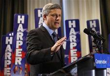 <p>Conservative leader and Canada's Prime Minister Stephen Harper speaks during a campaign rally in Quebec City September 7, 2008. REUTERS/Chris Wattie</p>