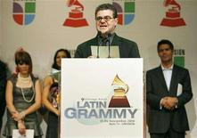 <p>Argentinean composer Gustavo Santaolalla announces the nominations for the Latin Grammy Awards in Los Angeles September 10, 2008. REUTERS/Mario Anzuoni</p>