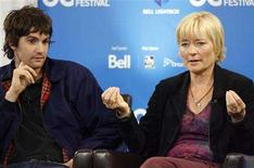 "<p>Director Kari Skogland speaks beside actor Jim Sturgess (L) at the ""Fifty Dead Men Walking"" news conference at the 33rd Toronto International Film Festival September 10, 2008. REUTERS/ Mike Cassese</p>"