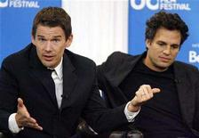 "<p>Actor Ethan Hawke gestures beside Mark Ruffalo (R) during the "" What Doesn't Kill You "" press conference at the 33rd Toronto International Film Festival, September 10, 2008. REUTERS/ Mike Cassese</p>"