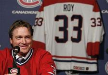 """<p>Former NHL goalie great Patrick Roy smiles during a new conference to announce his Montreal Canadiens jersey will be retired, September 11, 2008. The Canadiens will retire the number """"33"""" jersey during a ceremony this season. REUTERS/Shaun Best</p>"""