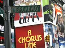 <p>A Broadway street sign hangs in New York's Time's Square, November 29, 2007. The new season on Broadway offers plenty for the theater fan, but it is not just fans who keep a close eye on the ups and downs of New York's theater world. REUTERS/Brendan McDermid</p>