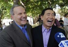 <p>Actor George Takei (R) and partner Brad Altman are interviewed after applying for a marriage license in West Hollywood, California, June 17, 2008. REUTERS/Phil McCarten</p>