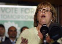 <p>Green Party leader Elizabeth May speaks at a federal election campaign news conference in Toronto, September 12, 2008. Canadians will head to the polls in a federal election October 14. REUTERS/Mike Cassese</p>