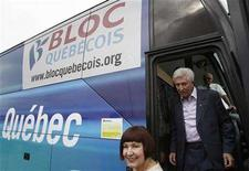 <p>Bloc Quebecois leader Gilles Duceppe gets off his campaign bus during a stop at the Western Festival in St-Tite September 13, 2008. The separatist Bloc is struggling ahead of an October 14 federal election in Canada and the party is now in second place behind the ruling Conservatives, according to a poll released on Thursday. REUTERS/Mathieu Belanger</p>